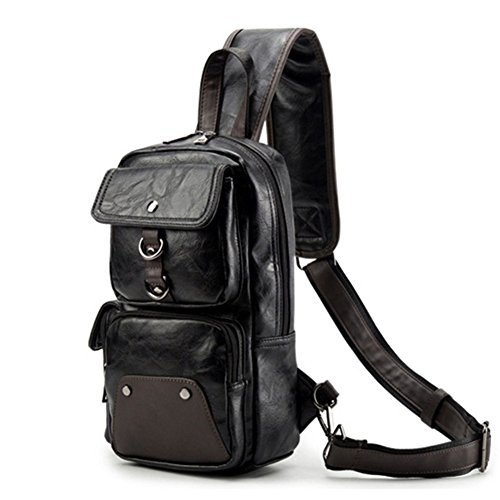 Price comparison product image AOLIDA Men Sling Bag Leather Unbalance Chest Shoulder Bags Casual Crossbody Bag Travel Hiking Daypacks