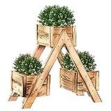 SPRINGOS Blumenständer aus Holz Yakisugi Pflanzentreppe Balkon Wohnzimmer Garten Terrasse Dekor Pflanzenregal aus Holz Blumenkasten