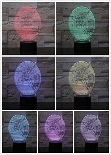 3D-nachtlampje met Godet-kop met afstandsbediening, led-nachtlampje, 3D-licht, illusielicht, nieuwjaar cadeau