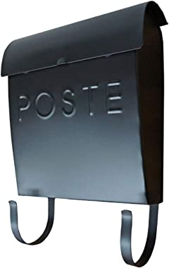 NACH MB-44765-FR Euro Mailbox with Newspaper Holder, French - Wall Mounted Post Box, Black, 12 x 11.2 x 4.5 inch