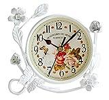 S.W.H Vintage Reloj de Mesa de Hierro Decoración de Hogar Salón Reloj Blanco Redondo con Flores Mariposa