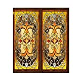 Static Cling Window Films Floral Stained Frosted Glass Stickers Door Closet Decor (10, 15.75 x 23.62 in)