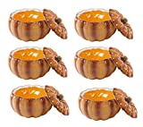 """Ebros 6"""" Diameter Home And Kitchen Gourmet Vegetable Pumpkin Soup Or Dessert Bowl With Lid Ceramic Decor Dinnerware For Halloween Pumpkins Party Accent (6)"""