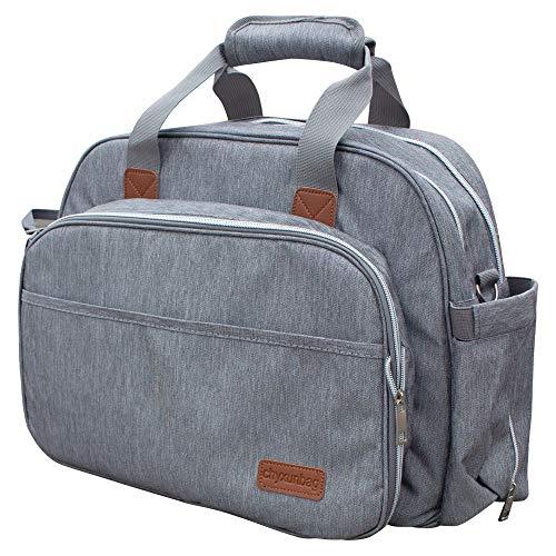 Bolsa de pañales de viaje para bebé al aire libre plegable Cuna con cambiador de pañales, mochila de maternidad-gris