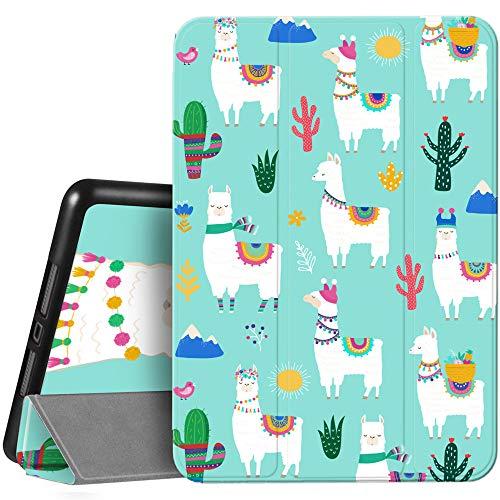 Hi Space iPad 8. / 7. Generation Kaktus Hülle 10.2 Hülle mit Stifthalter 2020 2019, Lama Alpaca Teal Cute Lama-Schaf Stoßfest Cover Auto Sleep Wake für A2270 A2428 A2429 A2197 A2198 A2200 Kakteen