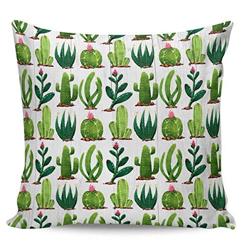 Moily Fayshow Fundas de Almohada de Tiro de Verano Cactus Planta Verde Fundas de cojín cuadradas Fundas de Almohada 40X40 Cm