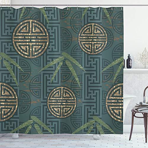 ABAKUHAUS Bambus Duschvorhang, Authentische Asiatische Motive, Personenspezifisch Druck inkl.12 Haken Farbfest Dekorative mit Klaren Farben, 175 x 200 cm, Teal Ivory Tan