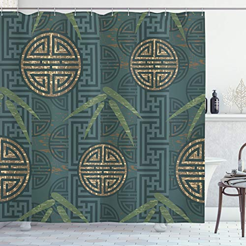 ABAKUHAUS Bambú Cortina de Baño, Motivos, Material Resistente al Agua Durable Estampa Digital, 175 x 200 cm, Teal Marfil Tan