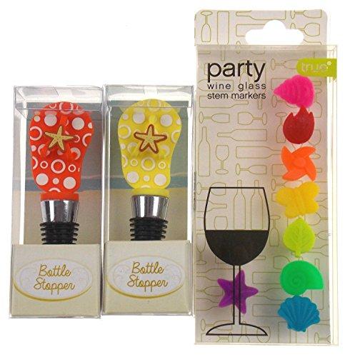 Orange & Gelb Flip Flop Wein Flasche Stopper gebündelt mit farbigen Party Glas Stiel Marker