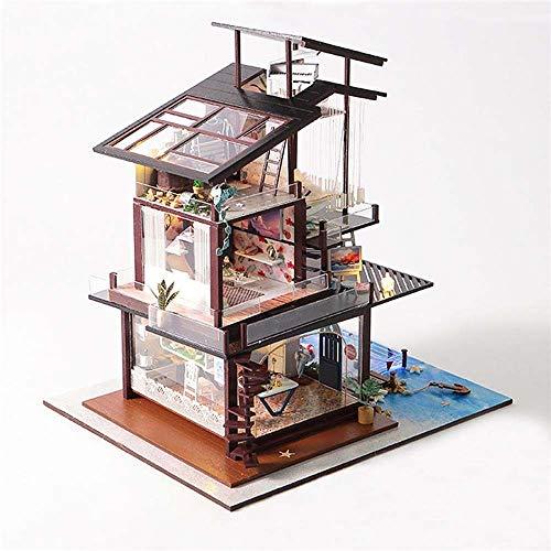 Bricolaje Jardín Kit de la casa Casa de muñecas DIY Valencia Coastal Villa Casa de muñecas en Miniatura Muebles Regalo Colección Kit (Color : Multicolor, tamaño : Un tamaño)
