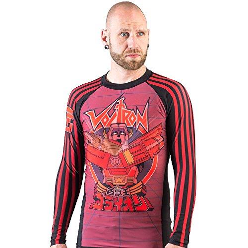 Fusion Fight Gear Voltron Beast King BJJ Rash Guard Compression Shirt- Red (M)
