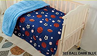 """Fancy Linen Faux Fur Flannel Borrego Soft Baby Throw Blanket with Sherpa Backing Warm and Cozy Stroller or Toddler Bed Blanket 40""""x 50"""" Dark Blue Sports Basketball Baseball Football Soccer"""