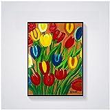 Tulipanes Maud Lewis lienzo pintura póster e impresiones arte de la pared imágenes coloridas para la decoración del dormitorio de la sala de estar 40x60cm x1 sin marco
