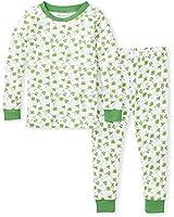 Burt's Bees Baby Baby Boys' Pajamas, Tee and Pant 2-Piece Pj Set, 100% Organic Cotton, Lucky Clovers, 6 Years