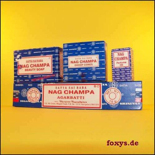 Nag Champa – wierook, kegel, zeep, geurolie – India, origineel