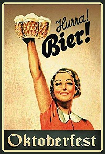 Schatzmix Blechschild Bier Hurra! Bier! Oktoberfest Metallschild Wanddeko 20x30 tin Sign