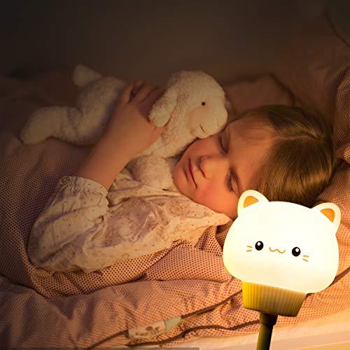 LED Nachtlicht Kinder, LED Nachttischlampe, Silikon Nachtlicht, Nachtlicht Kind USB Wiederaufladbare Silikon Baby Einschlafhilfe, Touch Control, Farbwechsel Nachtlampe für Kinderzimmer mit Timer