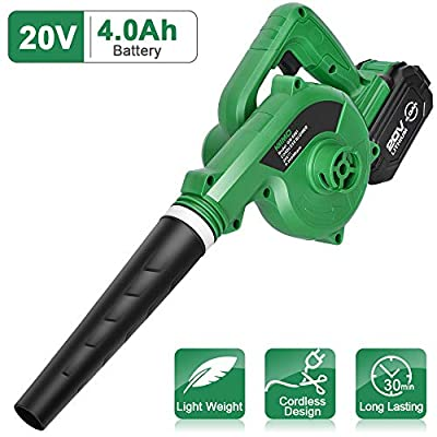 K I M O. Cordless Leaf Blower ? 20V 4.0 Ah Lithium Battery Powered Lightweight, Compact 2 in 1 Sweeper & Vacuum for Clearing Dust, Leaf & Snow, Car Vacuum, Patio/Deck/Garden Cleaning, Garage Dusting