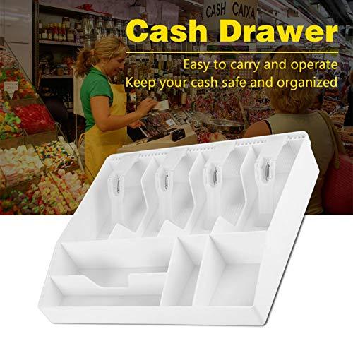 Cuatro compartimentos de monedas de alta calidad que funcionan bien Cajón de efectivo, bandeja de almacenamiento de efectivo, para sellos de caja chica(white)