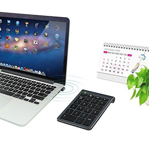 ワイヤレステンキーAlceyワイヤレス数字キーボードUSBレシーバー付き22キー2.4GHz無線数値キーボード小型多機能ナンバーパッドPC/Laptop/ノートブックなどに対応テンキーパッド(ブラック)