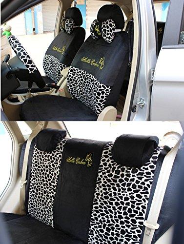 Best Buy! Black/Leopard Bow Front Rear Car Seat Cushion Cover Black&Gold 18pcs Full Set Needlework