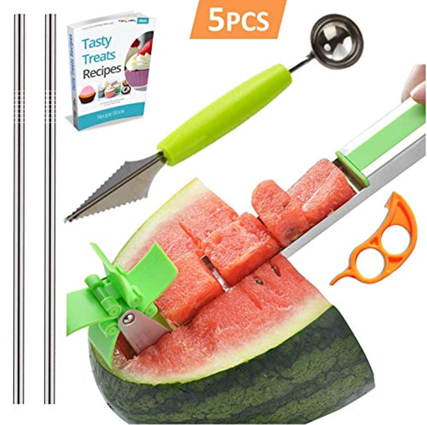 Watermelon Slicer Stainless Steel + Slicer Cutter Knife Corer + 2 Reusable Straws + Orange Peeler - Fruit Vegetable Tools Kitchen Gadgets - No Mess - Less Stress (Green) + eBook