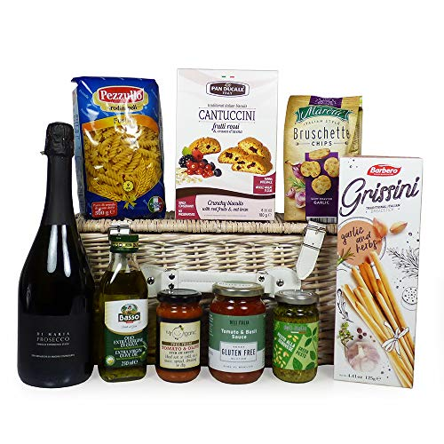 A Taste of Venice Prosecco and Food Wicker Basket Hamper - Ideas for Mum, Mothers Day, Christmas, Birthday, Anniversary, Corporate, Business gifts, Dad, Fathers Day, Teacher, Student