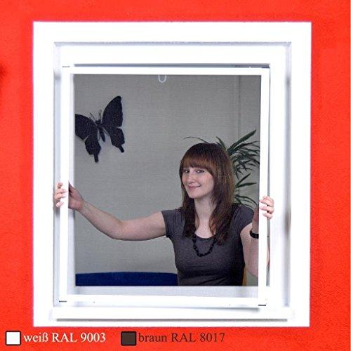 Premium Slim Fliegengitter für Fenster als Alubausatz mit Fiberglasgewebe - Profi Insektenschutz - 130 cm x 150 cm | weißer Rahmen