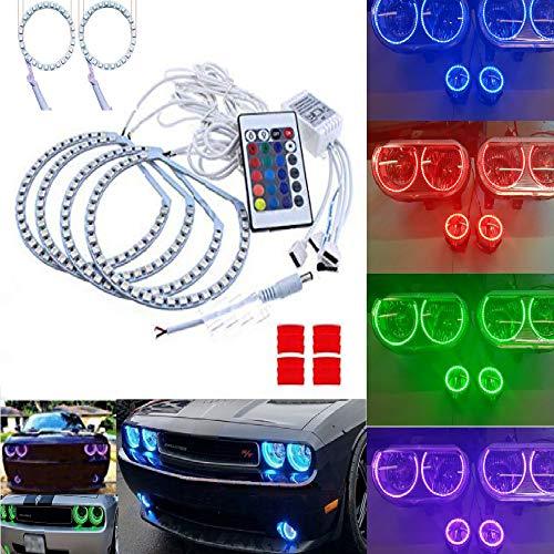 Qiuko 6pcs Multi-color LED Angel Eye Light Halo Demon Kits With Fog Light For Headlight Dodge Challenger 2006-2010 DRL