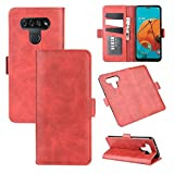 Jiangym LG Cases for LG K51 Dual-Side Magnetic Buckle Horizontal Flip Leather Case with Holder & Card Slots & Wallet(Black) LG Cases (Color : Red)