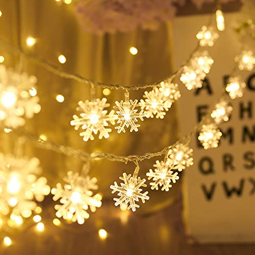 WSJKHY Kerstverlichting voor op vakantie, sneeuwvlokken, lichtsnoer op batterijen, hangende ornamenten, kerstboom, nieuwjaar, huisdecoratie, navidad Warm wit 1 m 10 LED