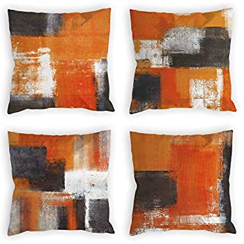 COLORPAPA Burnt Orange Throw Pillow Covers 18x18 Set of 4 Decorative Cushion Cover Taupe Abstract Art Painting Pillowcase for Sofa Bedroom Living Room Décor