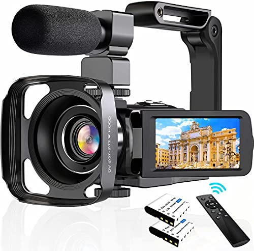 """4K Camcorder Digital Video Camera WiFi Vlogging Camera Camcorders with Microphone & Remote Control 3.0"""" IPS Touch Screen Vlog Camera for YouTube Video Camera"""