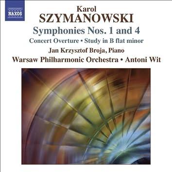 SZYMANOWSKI, K.: Symphonies Nos. 1 and 4 / Concert Overture / Study in B flat minor (Warsaw Philharmonic, Wit)