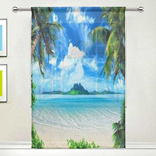 Use7 Gardine mit Palmenmotiv, 139,7 x 213,4 cm, 1 Stück, tropischer Strand, moderne Fensterbehandlung, für Kinder, Zuhause, Wohnzimmer, Esszimmer, Spielzimmer, Dekoration
