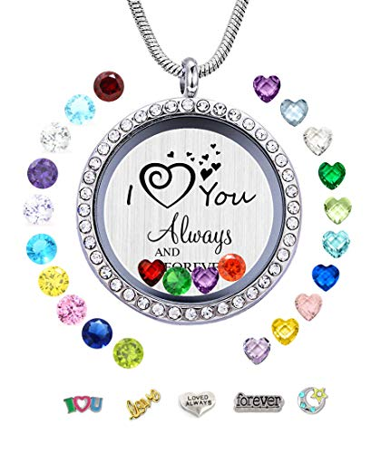 Mixso I Love You Always and Forever Floating Locket Necklace Pendant with Charms & Birthstones, Gifts for Mom Grandma Daughter Niece Sister Aunt Niece Nana