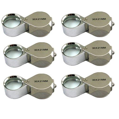 6 Pcs Mini 30X 21mm Jeweler Jeweler's Jewelry Loupe Magnifier Magnifying Glass Silver w/ Box