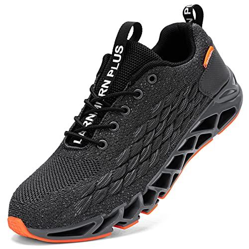 LARNMERN Scarpe da Ginnastica Uomo Donna Corsa Respirabile Mesh Sportive Fitness Running Sneakers Basse Interior Casual all'Aperto(Grigio 44)