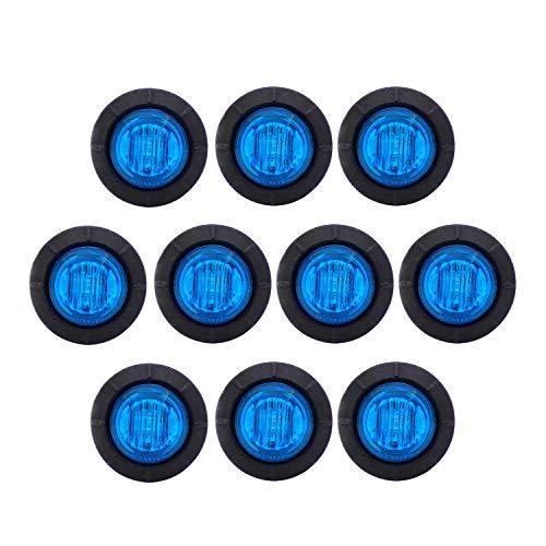 Meerkatt (Pack of 10) 3/4 Inch Miniature Round Blue LED Bullet Side Marker Universal Indicator Light Extra Bright Clearance Lamp ATV SUV Ferry Boat Truck Trailer Caravan Van Bus Car Waterproof 12V DC