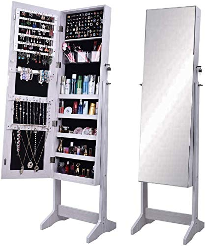 sogesfurniture Schmuckschrank Spiegelschrank abschließbar, 156x41x36.5cm Standspiegel Ganzkörperspiegel Schmuckregal Aufbewahrungsorganizer für Halsketten, Ringe, Ohrringe