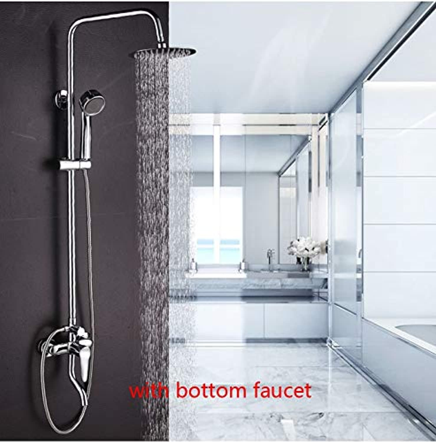 Dofaso 8 inch shower chrome faucet hight Brushed stainless Rain Shower Set Tub And chrome Faucet Shower tap Shower System,round head