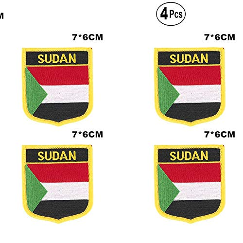 Sudan Shiled Shape vlag patches nationale vlag patches voor Cothing DIY Decoratie