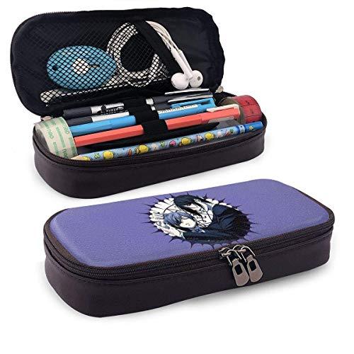Black Butler Leather Pencil Pen Case, große Aufbewahrung PU Make-up Bag Robuste Schreibwaren Box Pencil Pouch für Herren