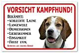 AdriLeo Schild - Vorsicht Beagle - Kampfhund - (20x30cm) / Achtung Hund Wachhund