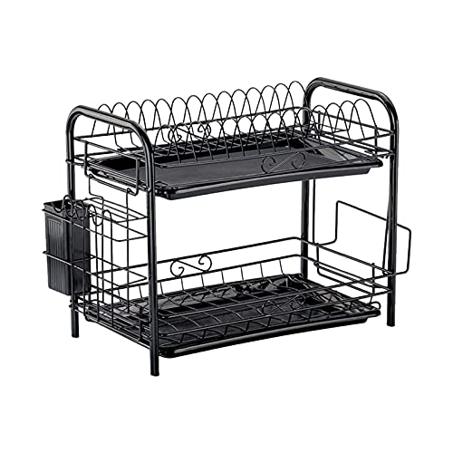 Corlidea Adjustable Dish Drainer Dish Rack Dish Drainer for the Kitchen Drip Tray Dish Dryer Drainer Dish Rack and Plate Stand for Sink, Plates (A)