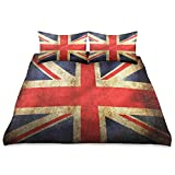 Naivey 3 Piece Bed Sheet Set Retro Union Jack Flag 100% Microfiber Bed Sheets Skin-Friendly Breathable Bedding King Size Bed Sheet 90x104 Inch
