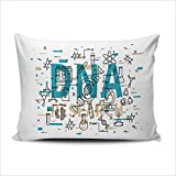 Home Custom Decor Colorful Biotechnology Microscope Gene Dna Chain Test Tube Cell Cerniera Nascosta Federe Federa Sofa Car Fodera per Cuscino Two Sidesd Printed Boudoir 12 X 18 Inches