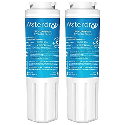 2X Waterdrop UKF8001 Filtro Dell'acqua del Congelatore per Maytag UKF8001, Amana, Jenn-Air PUR Puriclean II, UKF8001AXX, UKF9001, Whirlpool/KitchenAid 4396395, EDR4RXD1, Viking RWFFR, SK535