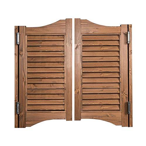 BGSFF Puertas batientes de café, Bar Retro, Valla Interior, Puerta de salón, Estilo Vaquero de Madera, Incluye bisagras, marrón (Color: A, Tamaño: 90x100cm)