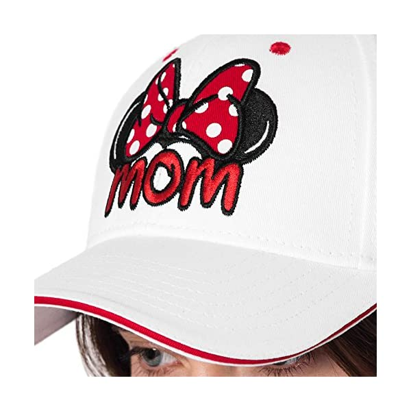 Disney Set Mickey & Minnie Hats Baseball Cap Men's Women's 2 Pack (White MOM & Grey DAD)